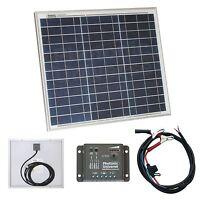 30W solar panel kit / 12V battery charger for motorhome, camper, caravan or boat