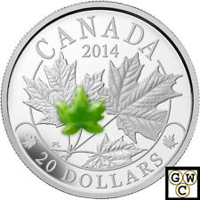 2014 Majestic Maple Leaves with Jade Prf $20 Silver coin1oz .9999Fine(NT)(14076)