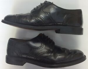 Roland-Cartier-Uk8-42-BLK-cuir-vintage-Bout-D-039-Aile-Chaussures-Gents-carriere-Business