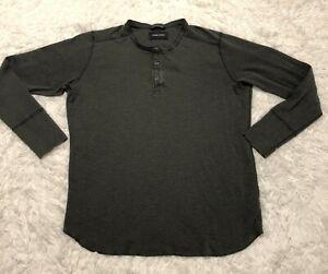 Wings-Horns-Mens-Long-Sleeve-Charcoal-Green-Henley-Button-Shirt-Size-XXL