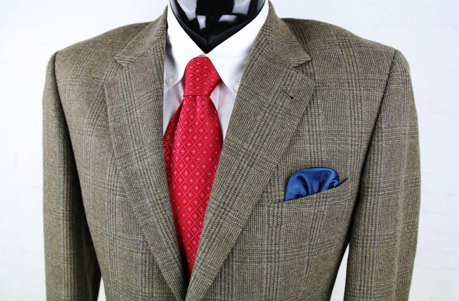 JOSEPH ABBOUD NORDSTROM (40R)  Herren Taupe Olive Blau Plaid Wool Nylon Sport Coat