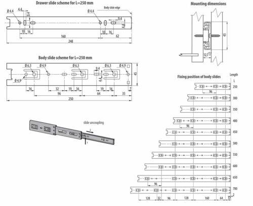 550 mm H45 Roulement à billes tiroir Coulisse Extension complète 35 kg Capacité