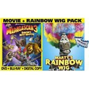MADAGASCAR-3-Europe-039-s-Most-Wanted-DVD-With-Bonus-Rainbow-Wig-New-Sealed