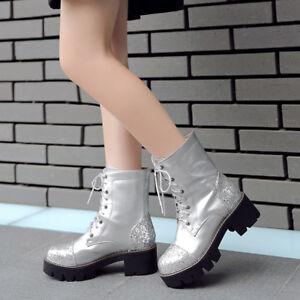 TRENDY-Femme-Punk-paillettes-bout-rond-et-talon-Mi-Talons-Bottes-De-Moto-Taille-Plus