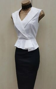 a Karen lavoro Occasione vestito Camicia Taglia di ricamato Uk 14 Millen matita Peplo 7Ex8UBn1