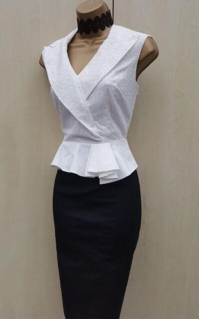 KAREN MILLEN Broderie Pencil Cotton Black Ivory Work Smart Peplum Shirt Dress 12