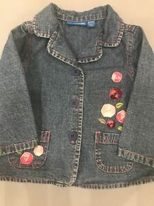 Greendog-Macy-039-s-Girl-039-s-Baby-Toddler-Adorable-Denim-Blazer-Floral-Detail-18-Mos