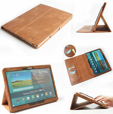 "Real Genuine Leather Smart Folio Case For Samsung Galaxy Tab S 10.5"" T800 T805"