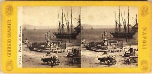 Italia Messina Il Port c1865 Foto Giorgio Sommer Stereo Vintage Albumina