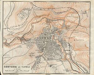 1909 ANTIQUE MAP ITALY TIVOLI AND SURROUNDING COUNTRYSIDE eBay