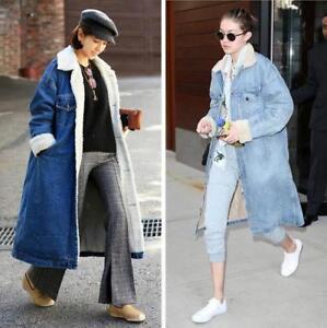 Femme-Denim-Jeans-doublee-en-polaire-epais-Long-Hiver-Doublure-Chaude-Veste-Revers-XX105