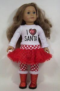 "I Love Santa Top /& Leggings w//Attached Tutu fits 18/"" American Girl Doll Clothes"