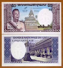 Lao / Laos, Kingdom, 50 Kip, ND (1963), P-12, UNC   King Savang in uniform