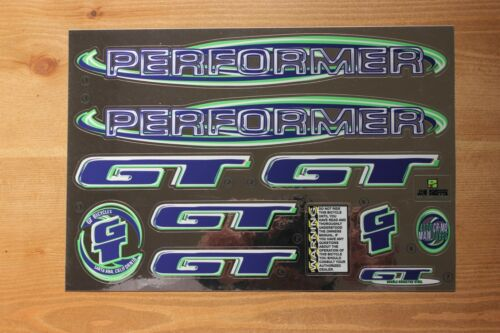 Reproduction 1999 GT Performer BMX Decal Set Chrome Backing