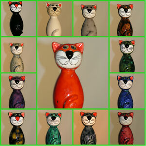 Minikatze-Katze-fuer-Stab-aus-Keramik-Deko-Garten-Tier-Gartendeko-Figur-Skulptur