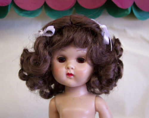 WIG FOR GINNY DOLL CENTERPART WITH CURLS AND BOWS DARK BROWN