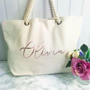 Ivory Canvas Beach Bag For Las S