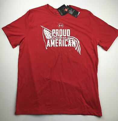 Under Armour Mens Large USA Heatgear Red Freedom Proud to be American T-Shirt