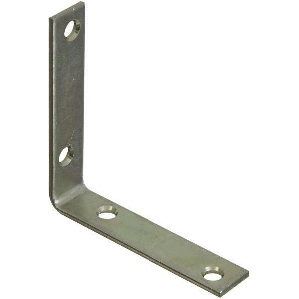 25 Pk Steel Zinc Plated 3 4  X 3 1 2  Wide Corner Angle Iron Brace 4 Pk N113399