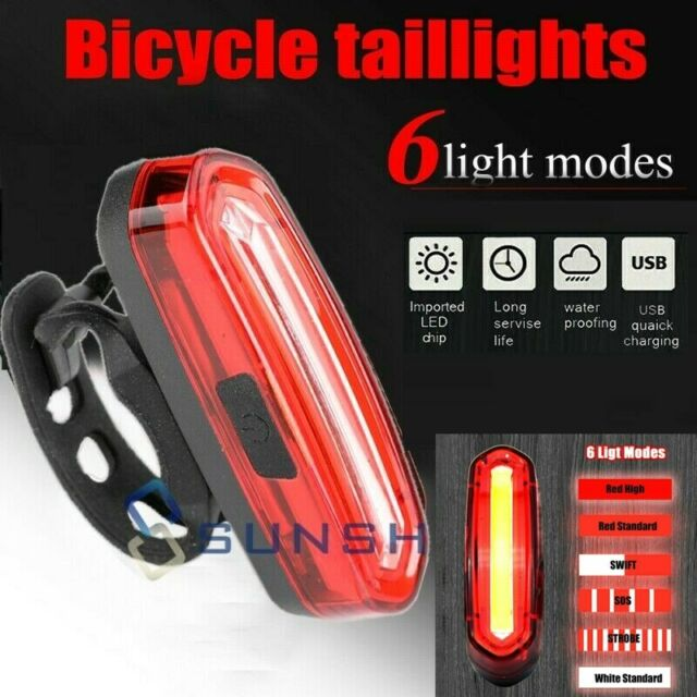 Details about  /5 LED USB Rechargeable Bike Bicycle Tail Light Flashing Safety Warning Rear Lamp