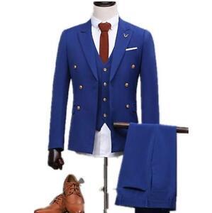 Image Is Loading Fashion Groom Tuxedo Mens Suits Wedding Royal Blue