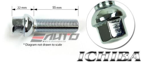 10x ICHIBA 55mm 12x1.5 M12 P1.5 EXTENDED LONG LUG BOLT R12 BALL SEAT SILVER VW