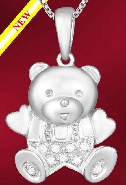 """BEAR"" PENDANT CHARM 14K WHITE GOLD & DIAMONDS (075)"