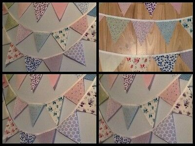 Handmade Fabric Bunting New Floral design 16ft - 32ft no gaps Celebration