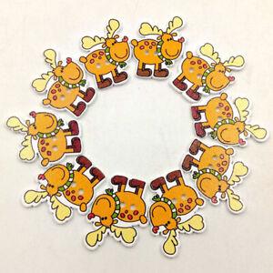 HD-50Pcs-Christmas-Deer-Wooden-Buttons-Round-Craft-Scrapbook-Sewing-DIY-Decorat