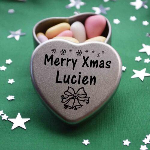 Merry xmas Lucien mini coeur Tin Cadeau Joyeux Noël Stocking Filler