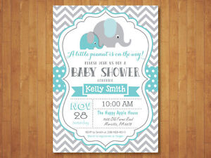 photograph regarding Printable Elephant Baby Shower Invitations identified as Information and facts above Elephant Child Shower Invitation. Boy. Blue and Grey Chevron. Printable Electronic.