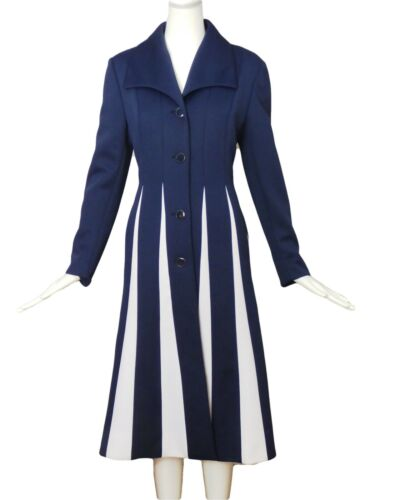 LILLI ANN-1960s Navy & White Knit Coat, Size-Large