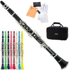 Mendini-Black-Blue-Green-Pink-Purple-Red-White-Bb-Clarinet-CareKit-11Reeds-Case