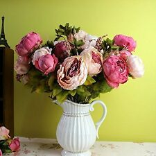 8 Heads Artificial Peony Home Wedding Faux Silk Simulation Flowers Abundant Gift