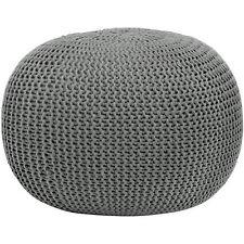 Pouf Ottoman Round Knit Seat Footstool Flor Pillow Urban Decor Gray Rest Chair
