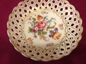 Antique-Dresden-Flowers-6-034-Reticulated-Bowl-USED-Gold-Trim-RS-PRUSSIA-ES