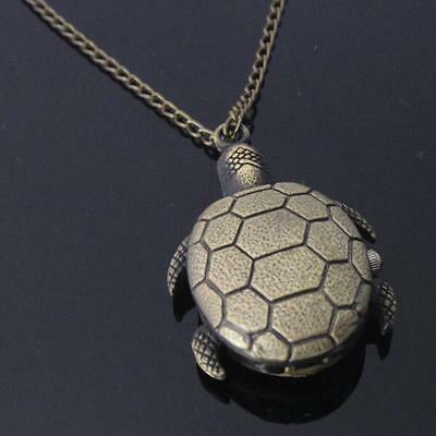 LO US Retro Bronze Turtle Pendant Sweater Necklace Quartz Chain Pocket Watch