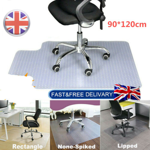 90x120cm Non Slip Office Chair Desk Mat Floor Carpet Protector PVC Plastic Clear
