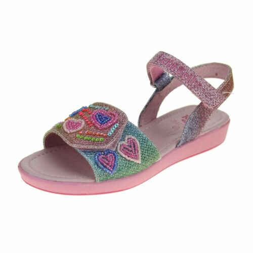 Lelli Kelly Rainbow Hearts Girls Multi Glitter Sandal