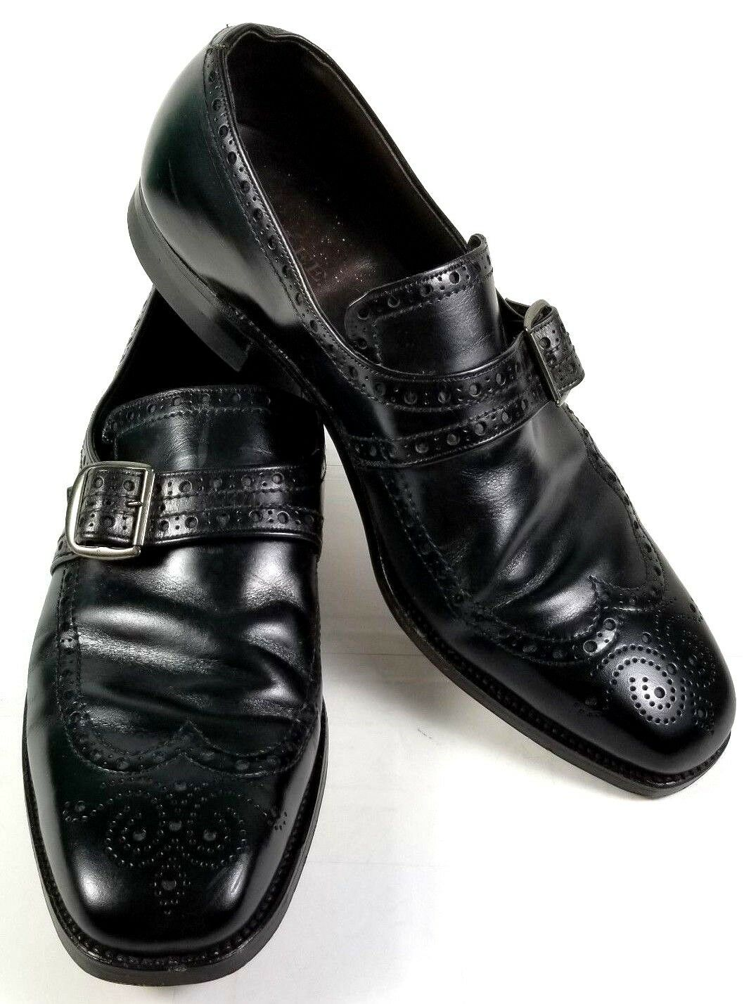 Roblee Mens Dress shoes Loafers Size 11C Black Wingtip Monk Strap Leather