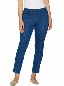 ISAAC-MIZRAHI-LIVE-Size-20T-Tall-Knit-Denim-Pull-On-Ankle-Jeans-LIGHT-INDIGO