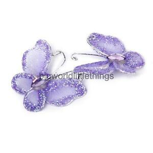 50-Wire-Stocking-Butterfly-Purple-Glitter-Party-Wedding-Craft-Decor-Purple