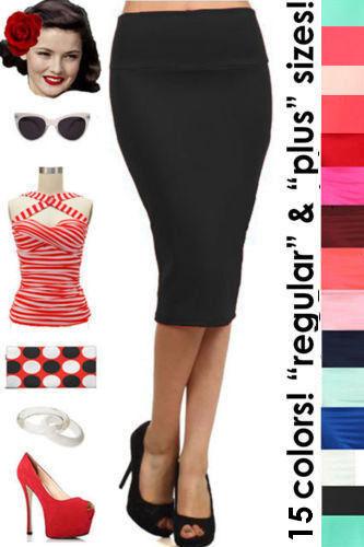 HIGHWAIST 50s PINUP Style Essential PENCIL Skirt ~ Reg & Plus Sizes - 15 Colors!