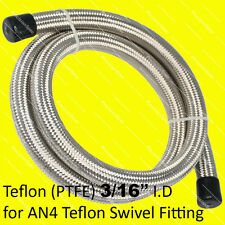 AN4 4AN Stainless Steel Braided PTFE Fuel Hose x 1 Meter 3.3FT With 1Yr Warranty