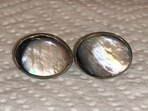 Pearl Center Silver Tone Dish Style Vintage Cufflinks for Men