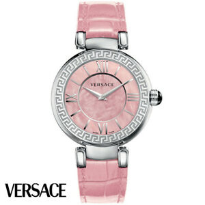 Versace-VNC020014-Leda-silber-pink-Leder-Armband-Uhr-Damen-NEU