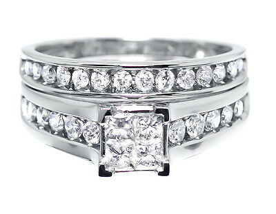 10k White Gold Ladies Princess Diamond Engagement Wedding Bridal Ring Set 1.02ct