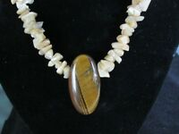 VINTAGE MOTHER OF PEARL AND TIGER'S EYE NECKLACE
