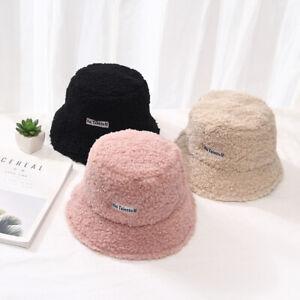 Women-Cashmere-Bucket-Hat-Winter-Cap-Solid-Warm-Bucket-Hat-Girls-Wide-Brim