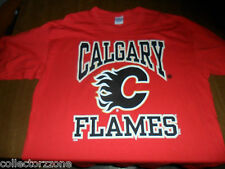 USED - NHL - CALGARY FLAMES - FAN RED T SHIRT - GILDAN - XL